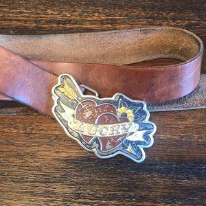 {Lucky Brand} Vintage Lucky Hearts Belt & Buckle